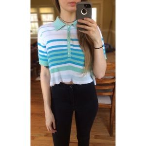 Vintage 90's Striped Ribbed Crop Tee 