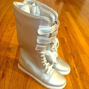 Shoes - Lace Up Silver Boots!