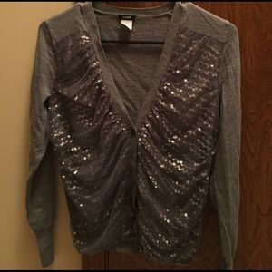 Jcrew size small gray sequined cardigan sweater