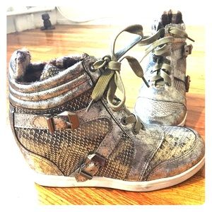 Shoes - Faux Snake Skin High Heel Sneakers!