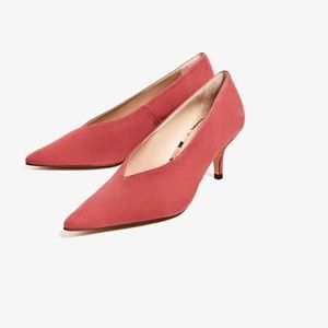 Zara suede mid heel in dark pink with pointed toe