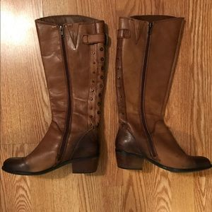 Lucky Brand cognac leather riding boots size 6