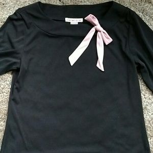 Notations Black Top with pink bow