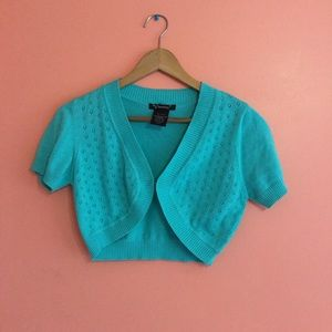 Xtraordinary Sweaters - Light blue short sleeve cover up