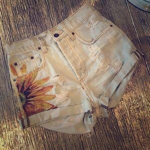 LF Carmar Sunflower denim shorts Sz 24