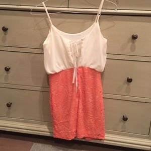 zinga Dresses & Skirts - White/pink floral spring dress Size M