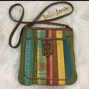 Fossil Handbags - FOSSIL multi color fabric crossbody with leather
