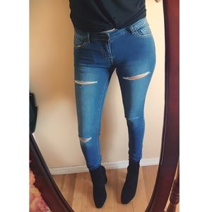 Denim - Knee Slit Denim Jeans