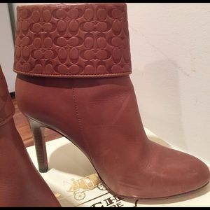 Coach Shoes - Coach cognac zip up short boots   😍