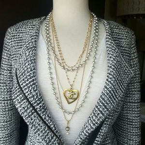 CHANEL Jewelry - CHANEL Heart CC Necklace & Pearls