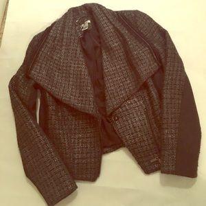 Cache Jackets & Blazers - Cache tweed asymmetrical Moto jacket