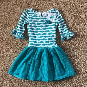 Sweet Heart Rose Other - Beautiful Blue Lace Skirt Dress Top with Flower