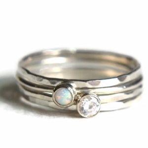 RESTOCKED 925 Sterling Silver Opal/Cz Ring Set