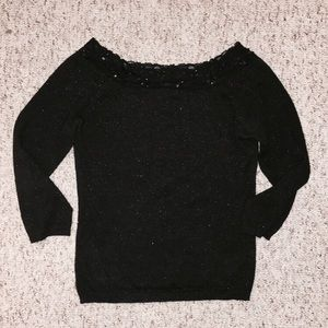 Copper Key Sweaters - Sparkly Black Sweater