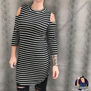Tops - Striped cold shoulder tunic dress NWT