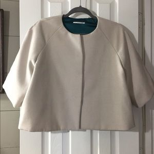 T Tahari cape jacket coat neutral wool like career