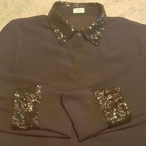 Charming Charlie Sheer Black Blouse with Sequin