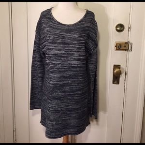 Ellen Tracy Sweaters - Ellen Tracy Navy and white patterned long sweater