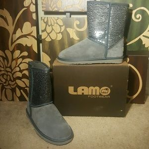 Lamo Shoes - *BRAND NEW* Lamo Grey Suede Knit Booties w/Sequins