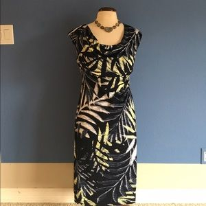 Connected Apparel Dresses & Skirts - Connected Apparel Blue & Black Leaf Print Dress