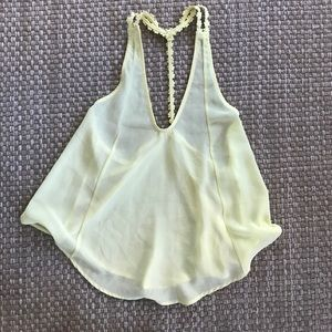 Tops - Yellow sheer crop tank t back top daisy appliques