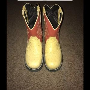 Justin Boots Shoes - Justin Western Cowboy Boots, Size 8, Pale Yellow