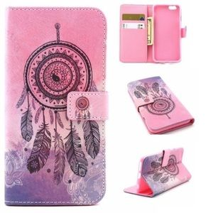Accessories - Pink dreamcatcher leather wallet+stand iPhone case