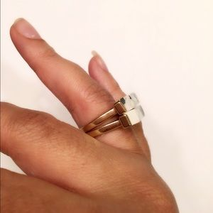 Evolving Always Jewelry - 🆕White Turquoise Stone Gold Tone Rings