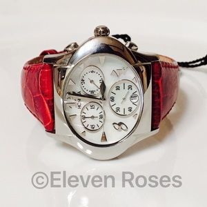 Honora Accessories - Honora Mother Of Pearl Burgundy Chronograph Watch