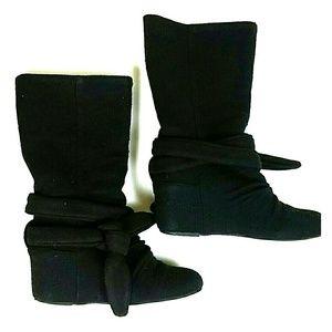 Black Cloth Wedge Boots