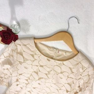 Tulle Tops - Tulle Ivory Floral Lace Blouse 3/4 Ruffled Sleeves