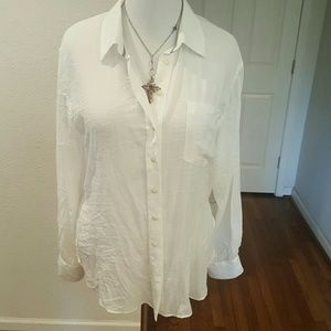 Free People Large White  Button down
