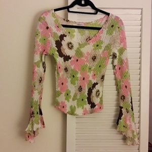 Komarov Tops - Too Darling Floral Top with Flared Sleeves