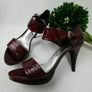 White House Black Market Shoes - WHBM burgundy red heels with ankle strap