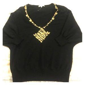 Sandro Sweaters - Sandro Jeweled Embellished Vneck Sweater