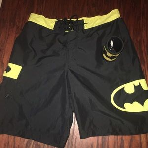 Batman Other - BATMAN Adult Swim Trunks  Sz 34 w/ Koozie