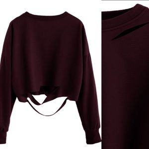 Free People Tops - Burgundy Distressed Drop Shoulder Cut Out Crop