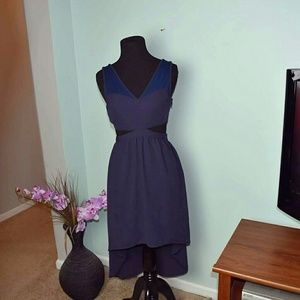 Lush Dresses & Skirts - Lush Navy Blue Cutout Flowy Dress