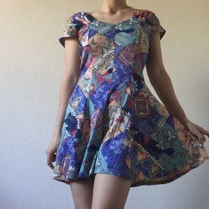 vintage 80's floral patchwork romper