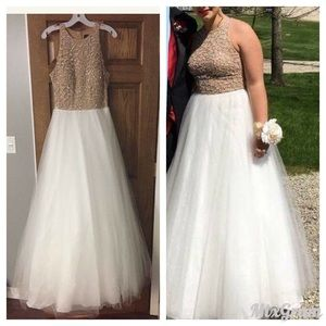 Terani Couture Dresses & Skirts - Terani Beaded Gold with White Tulle Prom Dress S