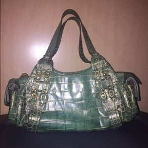 Pristine Cole Haan Village F05 Handbag Green /Gold