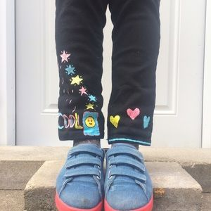 Pants - Black pants with smiley patch