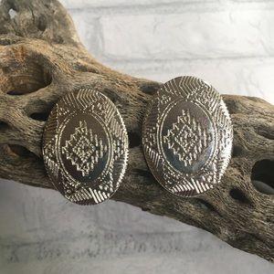 Silver western earrings