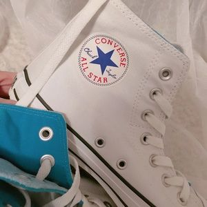 Converse Shoes - White/Blue Double Layer Converse High Tops