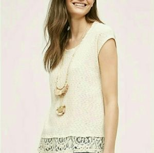 Anthropologie Everleigh Hi-low Lace Top