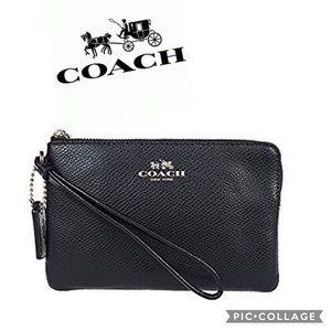 COACH Crossgrain black Leather Corner Zip Wristlet