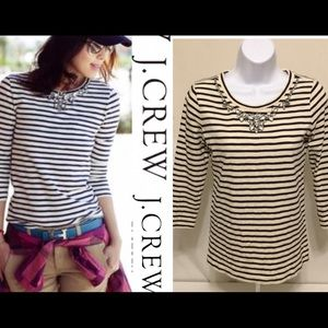 J. Crew Tops - J. Crew Top Women's Rhinestone striped exc. cond.