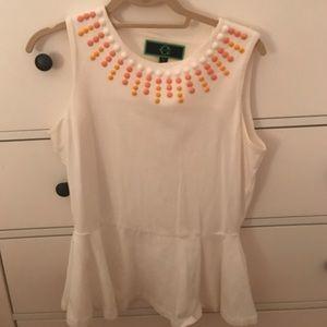 C wonder peplum shirt with beading