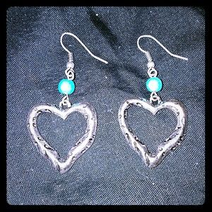 *Silver & Turquoise Heart Earrings*