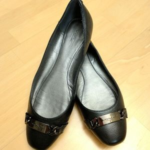 Coach Shoes - Black Leather Coach Flats with Buckle